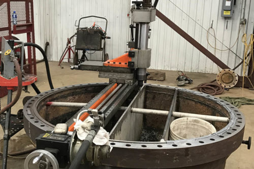 "8' Mill Slide machining Pass Partion repairs on 72"" Heat Exchanger Head"